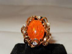 14k enthalten Feueropal Ring  Jahrgang 95 ct Opal von YesterDejaVu