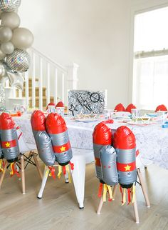 A Stellar Rocket Ship Space Birthday Party - Inspired By This Rocket Birthday Parties, Birthday Table, 4th Birthday, Birthday Ideas, Astronaut Party, Outer Space Party, Party Table Decorations, Kid Party Favors, Space Theme