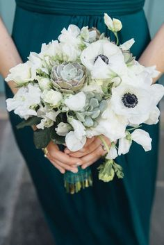 Succulent and anemone bouquet - organic and gorgeous {G.Chapin Studios}    For more wedding inspiration check out our wedding blog www.creativeweddingco.com