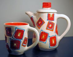 Teapot with matching mug Red Square pattern by KrisCravensPottery, $65.00