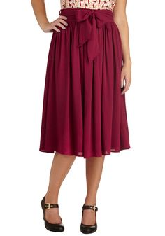 Tea and a Candle Skirt. To enjoy this afternoons brew, skip the tea party, and instead, pick a cozy spot in which to curl your legs under this flowing burgundy skirt. #red #modcloth