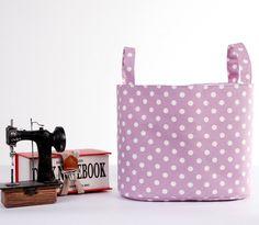 Fabric Basket Storage Organizer Bin  Lilac Polka by LoveJoyCreate,  #fabricbasket #basket #storage #storagebasket #purple