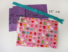 Noodlehead: open wide zippered pouch: DIY tutorial do this wide mouth zipper pouch with extending zipper. Zip Pouch Tutorial, Tutorial Diy, Tutorial Sewing, Purse Tutorial, Zipper Bags, Zipper Pouch, Bag Patterns To Sew, Sewing Patterns, Sewing Hacks