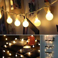 ProGreen Outdoor String Lights, 14.8ft 40 LED Waterproof Ball Lights, 8 Lighting Modes, Battery Powered Starry Fairy String lights for Garden,Christmas Tree, Parties (Warm Light)