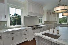 Kitchen-Tile, island, windows, undermount stainless sinks