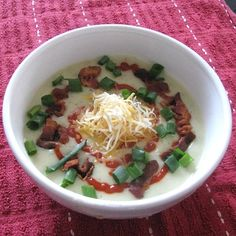 Baked Potato and Leek Soup with Cheddar and Bacon