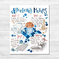 What is better than combining cute kitchen art with a classic comfort food recipe?? OVERVIEW: ☀ Blueberry Muffin Recipe Infographic Print ☀