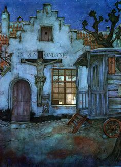 lilacs and wild geese: Anton Pieck (Netherlands, Juliette Aristides, Anton Pieck, Dutch Painters, Dutch Artists, Fantasy Illustration, Gravure, Celestial, Artist Art, Landscape Art