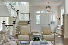"""Stairs are perfect for home plan. Family Home Interior IdeasThe main floor paint color is """"Benjamin Moore Edgecomb Gray Coastal Living Rooms, Home Living Room, Living Spaces, Luxury Interior Design, Interior Ideas, Interior Paint, Coastal Interior, Room Interior, Style At Home"""