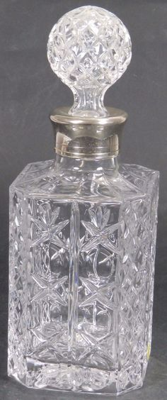 Vintage Cut Glass Decanter with White Metal Collar | eBay