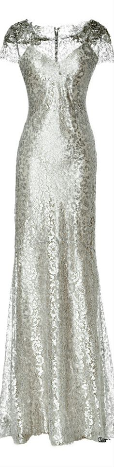 This metallic lace column gown is just.....there are no words.