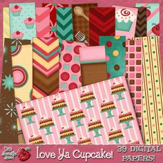 """Love Ya Cupcake!"" Digital Paper Pack. Digi-Doodle Doo, digital scrapbook kits for only $1.00 and paper packs for only.75!"