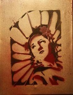 Geisha spraypaint stencil work
