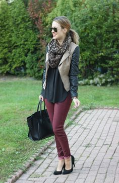 olive jacket with leather quilted sleeves and maroon pants! I wish I where this good at mixing and matching