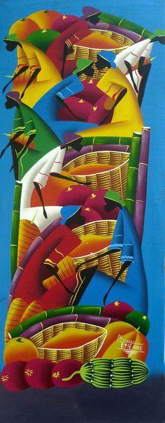 "Haitian Art Canvas Painting - Haitian Market Scene - Art of Haiti - Ethnic Art-  Primative Caribbean Art, Haitian Art - 12"" x 30"" - 272 by TropicAccents on Etsy"