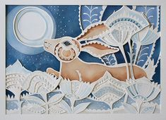 Louise Jenkins: Prancing Hare Paper cutting, at least four layers. Gouache, and some small piercings done with a manual hole punch and hammer.