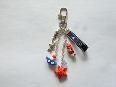 Bijou de sac air marin phare, bateau, étoile de mer en fimo Porte clés : Porte clés par creattitude06
