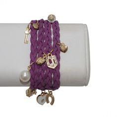Leather Wrap Bracelet with Charms – Purple #bracelets #fashion #jewelry  9thelm.com