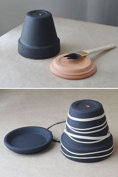 Two layers of paint & rubber bands - quick way to decorate planters