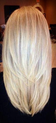 Straight Long Platinum-Blonde/Ash-Blonde Layered Hair