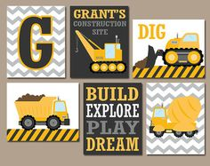 Construction Wall Art Canvas Or Prints Dump Truck Pictures Tractor Boy Bedroom Baby Nursery Transportation Theme Set Of 3 Decor