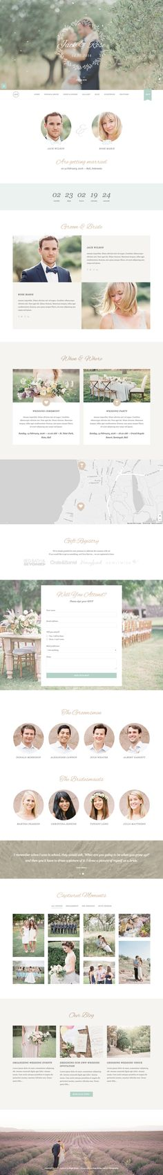 "'Jack & Rose' is a great looking One Page Wedding WordPress theme perfect to announce the special day. Features include parallax scrolling, countdown timer, Google Maps with custom marker, gift registry section, a smart RSVP form and a big image pop-up gallery with category filter. Nice touch with the ""falling petal"" effect as well as the Soundcloud integrated background music, which is optional of course."