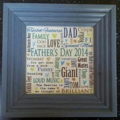 Father's Day 2014 the kids brainstormed all the things that make them thing of their Dad, what he says that makes them laugh, his catchphrases his faves, his nicknames for them, and this is what we made :-) #fathersday