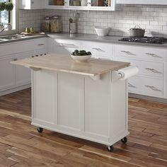 Kuhnhenn Kitchen Cart with Wood Top & Reviews | Birch Lane Farmhouse Style Kitchen, Modern Farmhouse Kitchens, Rustic Kitchen, Country Kitchen, Kitchen Decor, Kitchen Ideas, Small Kitchens, Kitchen Designs, Eclectic Kitchen