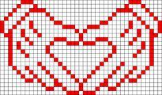 Gloving heart perler design