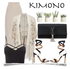 """Kimono"" by andreapais ❤ liked on Polyvore featuring MaxMara, Miss Selfridge, Charlotte Russe, Gianvito Rossi, Yves Saint Laurent, Allstate Floral, kimonos and plus size clothing"