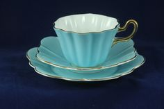 Royal Stuart Harlequin China Trio Tea Cup Saucer and Plate in Pale Blue | eBay