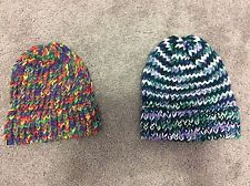 Handmade Lot of 2 Knitted Hats Unisex
