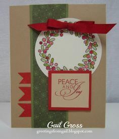 Wreath is from Season's Tweetings Gift Bag Kit from Holiday Guide, Sentiment is from Frosted WOTG,