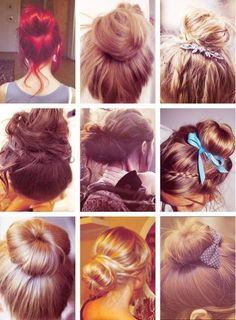 cute buns ♥ - The Beauty Thesis Latest Hairstyles, Bun Hairstyles, Pretty Hairstyles, Wedding Hairstyles, Hairstyle Names, Style Hairstyle, Updo Hairstyle, Types Of Hair Bun, Coiffure Hair
