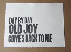 Old Joy  Noah & the Whale letterpress by agirlinsaltlakecity, $7.00