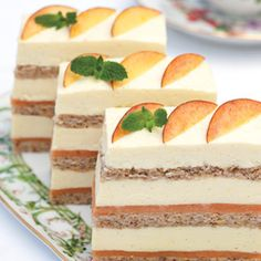 Bavarian Cream (pictured w peaches and cream layer cake, recipe also with link at bottom)