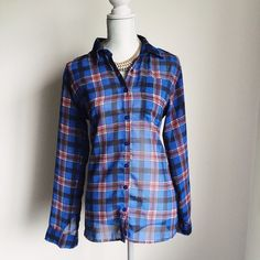 Blue Sheer Plaid Button Up Blouse Super cute sheer blouse. Featuring a plaid pattern to make your outfit look more casual! Francesca's Collections Tops Button Down Shirts