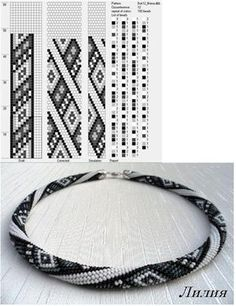 Bead crochet rope pattern - 12 around, diamonds, 4 colors