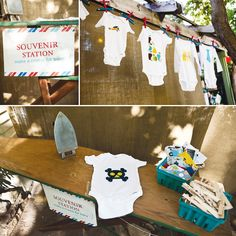 love!! iron-on station: guests can choose the design and make onesie for baby.