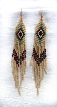 NATIVE AMERICAN MUSKOGEE BEADED EARRINGS - CREAM, MOSS GREEN, BROWN   eBay Seed Bead Jewelry, Seed Bead Earrings, Fringe Earrings, Beaded Earrings, Native American Earrings, Native American Beading, Loom Beading, Beading Patterns, Native Beadwork