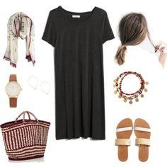 tshirt dress, sandals, bracelent, scarf, straw tote