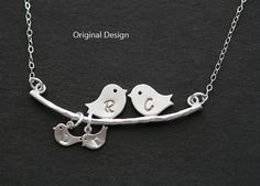 Original Kissing bird on the tree,Bird Necklace,Grandmother,Mother Jewelry,Mother's day,Family Bird,Lariat Sterling Silver Necklace on Etsy, $30.00