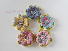 Crochet flower applique : for hat, bag, shawl, scarf, headpiece, etc. by LaLehCrochet on Etsy