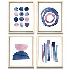 Wall Art Sets, Diy Wall Art, Framed Wall Art, Wall Art Prints, Blue Painting, Watercolor Paintings, Watercolors, Plant Wall Decor, Pink Art