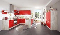 Basic-Einbauküche Norina 3102-Rot-Hochglanz - Küchen Quelle
