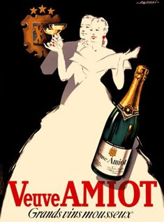 View this item and discover similar for sale at - Original vintage lithograph poster advertising Veuve Amiot French champagne - grands vins mousseux. Great Art Deco imagery of an elegant couple raising Vintage Advertising Posters, Vintage Advertisements, Vintage Posters, Modern Posters, Print Advertising, Art Deco Posters, Poster Prints, Art Prints, Pub Vintage