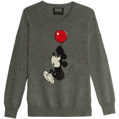MARKUS LUPFER Up And Away Mickey Jumper ($169) ❤ liked on Polyvore featuring tops, sweaters, disney, sequin top, grey sweater, sequin jumper, markus lupfer and gray sequin top