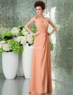 One-shoulder Chiffon Floor Length Womens Bridesmaid Dress. We love sheath-style dresses and after seeing this one, were sure you will, too. It features a lovely cutout neckline with horizontal straps that tie into a lovely bow on the shoulder and crisscross the back once. The.. . See More Bridesmaid Dresses at http://www.ourgreatshop.com/Bridesmaid-Dresses-C926.aspx