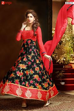 Anarkali Style Black & Red with Butta Work Incredible Unstitched Salwar Kameez. Message/call/WhatsApp at +91-9246261661 or Visit www.zinnga.com