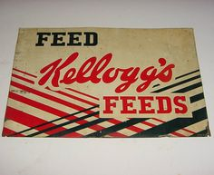 RARE ORIGINAL * 1940s Vintage KELLOGG'S FEEDS Old Colorful Tin Farm Sign